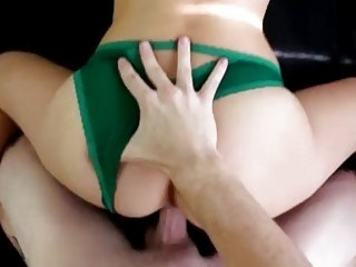 Amateur girl moves her panties to get dicked super hard