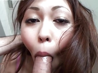 Handsome Japanese chick gives a blowjob before being fucked hard