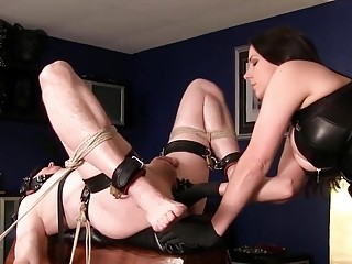 Prostate pleasures for a hot man who is tied up