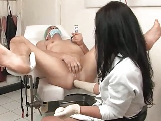 Doctor gives him a prostate fisting check