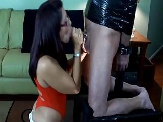Puerto Rican hottie sucking hard cock in bondage