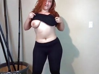Redhead with a big ass enjoys her toy