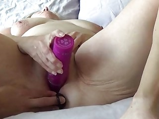 Dude fingering and fucking his horny amateur wife