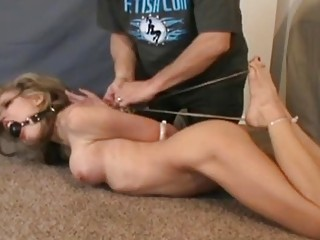 Busty skinny girl is hardcore tied up