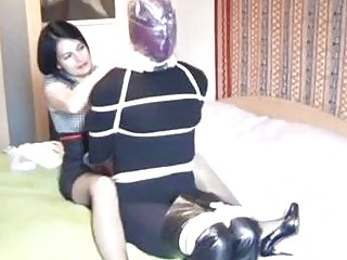 Dominant fetish big tits girl is making him suffer