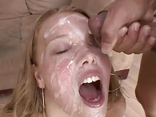 Busty redhead loves to get cum covered