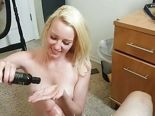 Blonde woman tugs big casting prick like a pro POV