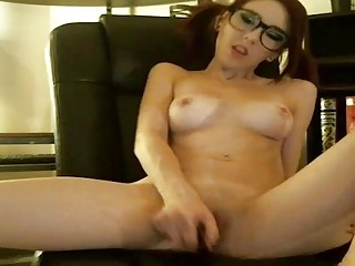 Cutest redhead jerks off for the camera in a fetish cosplay