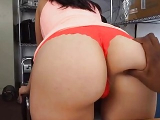 Tempting busty chick sucks black cock in a juicy cuckold