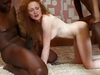 Impressive redhead woman gets it doggy style in a cuckold
