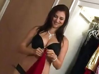 Tease and denial from horny brunette babe