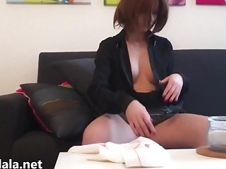 Kinky French maid teases with big titties downblouse fetish porn