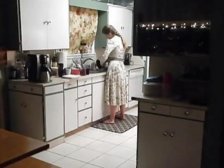 Amateur slut takes it from behind in the kitchen POV