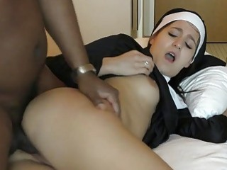 Deviant maid in uniform interracially fucks with a hung thug