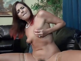 Amateur mom in stockings likes to ride dick in POV
