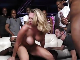 Blonde chick in the club got gangbanged