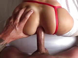 Sexy girlfriend in stockings rides her man's tool
