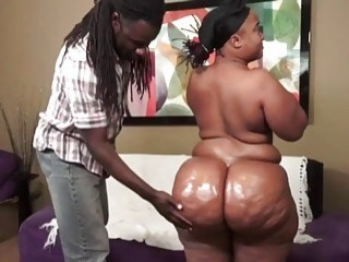 Fat ass ebony gets destroyed by a big black cock