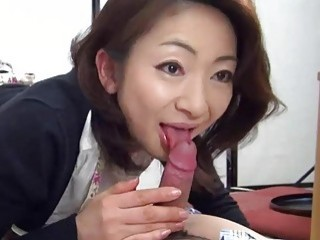 Asian mom takes care of his hard boner