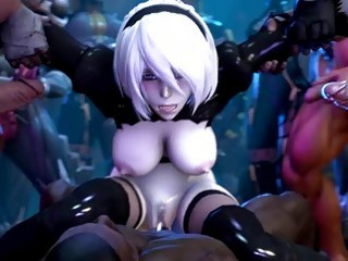 Horny Yorha beauties get their love tunnels fucked in 3D