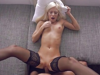 Amazing blonde sucking and riding a stiff shaft