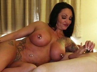 Hot mom jerks off a cock while masturbating