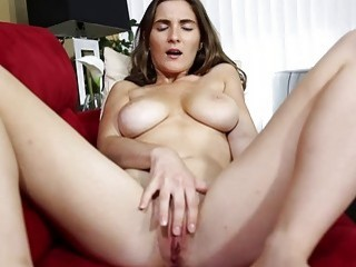 Hot brunette massages her tight wet pussy