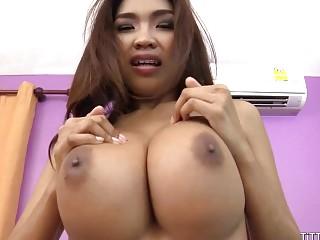 Massive Asian titties fucking raw and no birth control