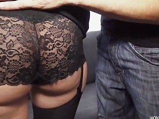 Nasty babe in sluty lingerie sucks dick and fucks hardcore