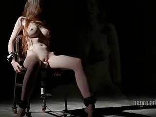 Girl with big tits is tied and craves for BDSM