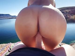 Gorgeous amateur fucks hardcore and enjoys a sea view outside