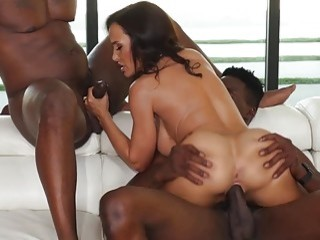 Gorgeous nasty babe loves big cock and interracial group sex
